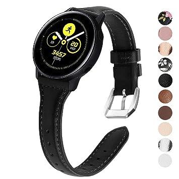 KIMILAR Pulseras Compatible con Samsung Galaxy Watch Active/42mm/Active 2 (40mm/44mm) Correa Cuero, Recambio Reemplazo de Banda de la Muñeca para Gear ...