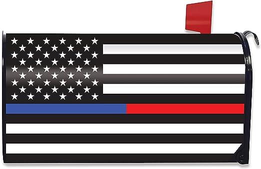 Delgada línea azul & rojo magnético buzón para servicios de emergencia Policía estándar: Amazon.es: Jardín