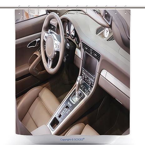 Amazon Com Unique Shower Curtains Dark Luxury Car Interior Steering
