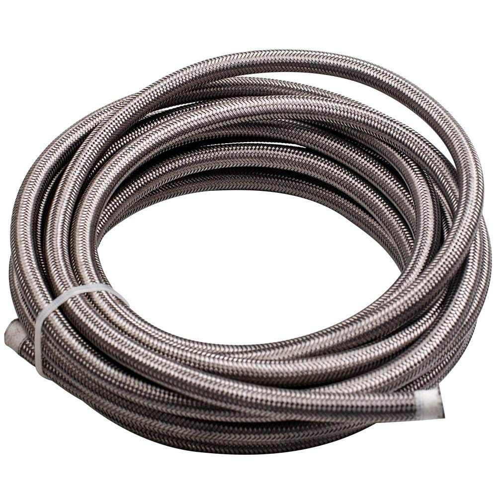 20FT AN6-6AN Fitting Steel Nylon Braided Oil Silver Fuel Hose Line Kit 20 Feet by Tuningsworld (Image #4)