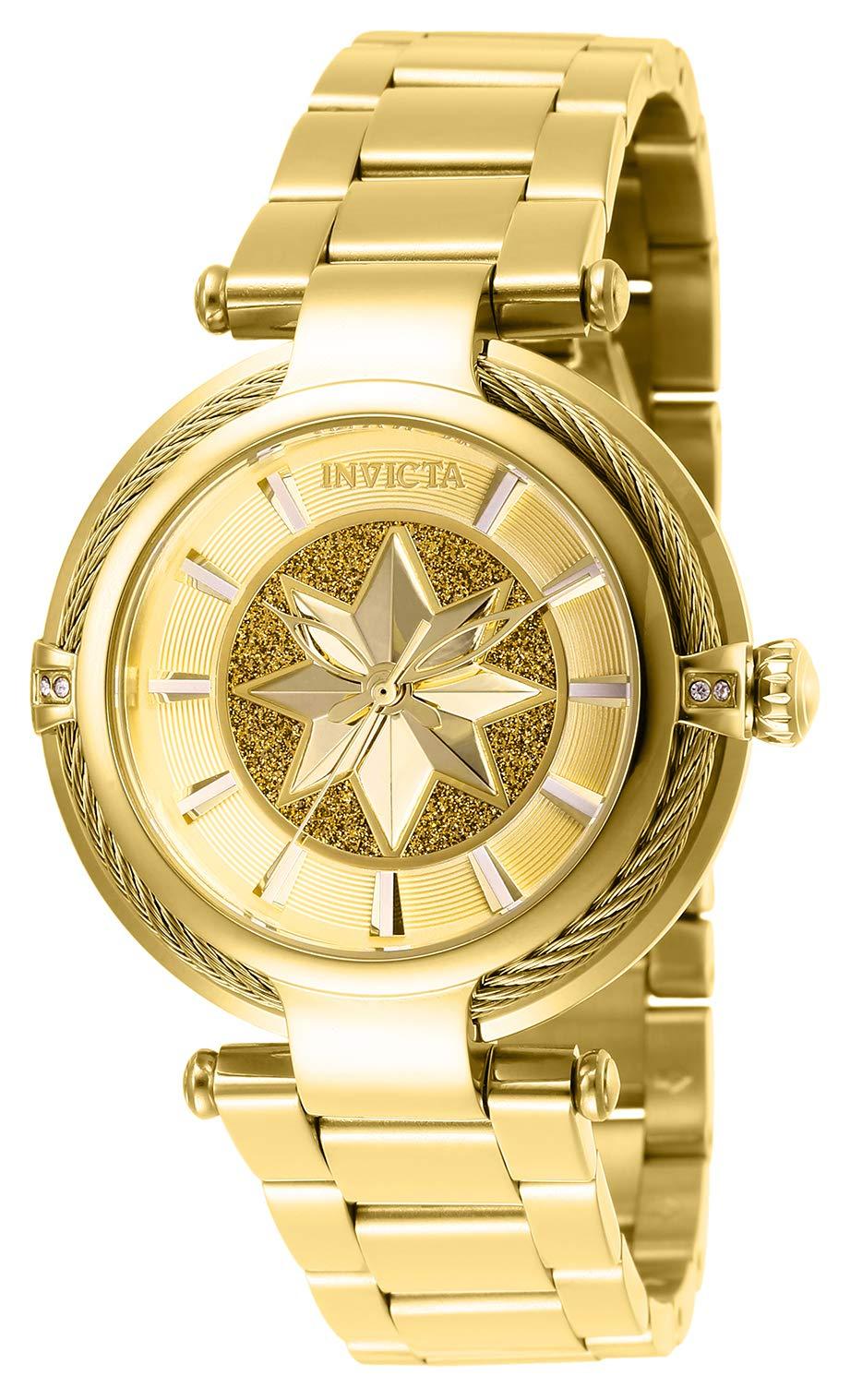 ویکالا · خرید  اصل اورجینال · خرید از آمازون · Invicta Women's Captain Marvel Analog Quartz Watch with Stainless Steel Strap, Gold, 20 (Model: 28833) wekala · ویکالا