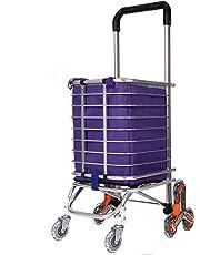 Hosmat Folding Shopping Cart, Portable Stair Climbing Grocery Carts Reusable Utility Transit Cart with Swivel Wheels, Collapsible Frame, 177 pounds Capacity (Swivel Wheels Orange)