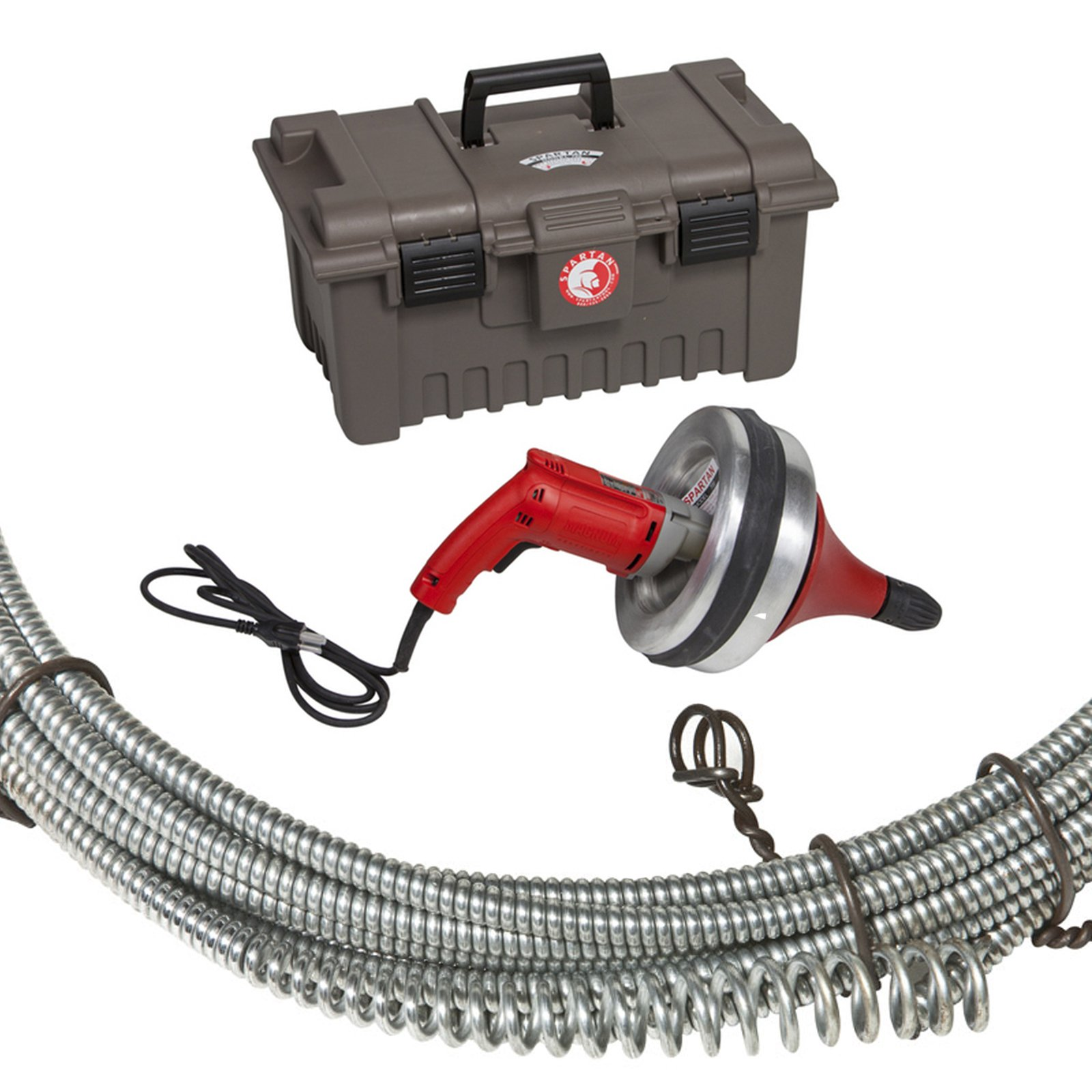 Spartan Tool 700 Handheld Drain Cleaning Machine with 1/4'' x 25' Open Hook Drain Cable 02755309 and 4212102