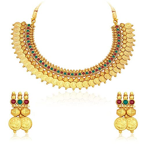 74cd3be46 Amazon.com: Royal Bling Stylish South Indian Temple Coin Necklace Set/ Jewellery  Set With Earrings: Jewelry
