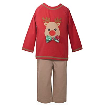 b85f0e998470 Bonnie Jean Boys Red Reindeer Boys Holiday Pant Set