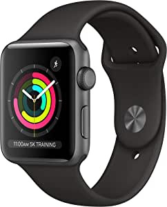 AppleWatch Series3-42mm, Space Gray Aluminum Case with Black sport Band MTF32