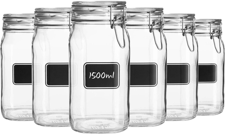 Bormioli Rocco 6pc Lavagna Glass Storage Jar Set with Chalkboard Labels - Food Pasta Jam Preserving Jars - 1.5L