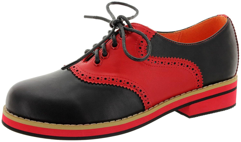 Dancing Days - Zapatos de cordones de Material Sintético para mujer 38 EU negro-rojo