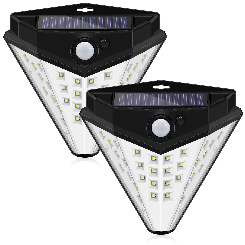 LED Luci Solare Stairs, IP65 Impermeabile Lampada con Sensore di Movimento, Wireless Solar Security Night Lights per Passerella da Giardino 2 Pezzi