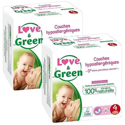 Love & Green Pañales hipoalergénicos para Bebés, Talla 4 (7-14 kg)
