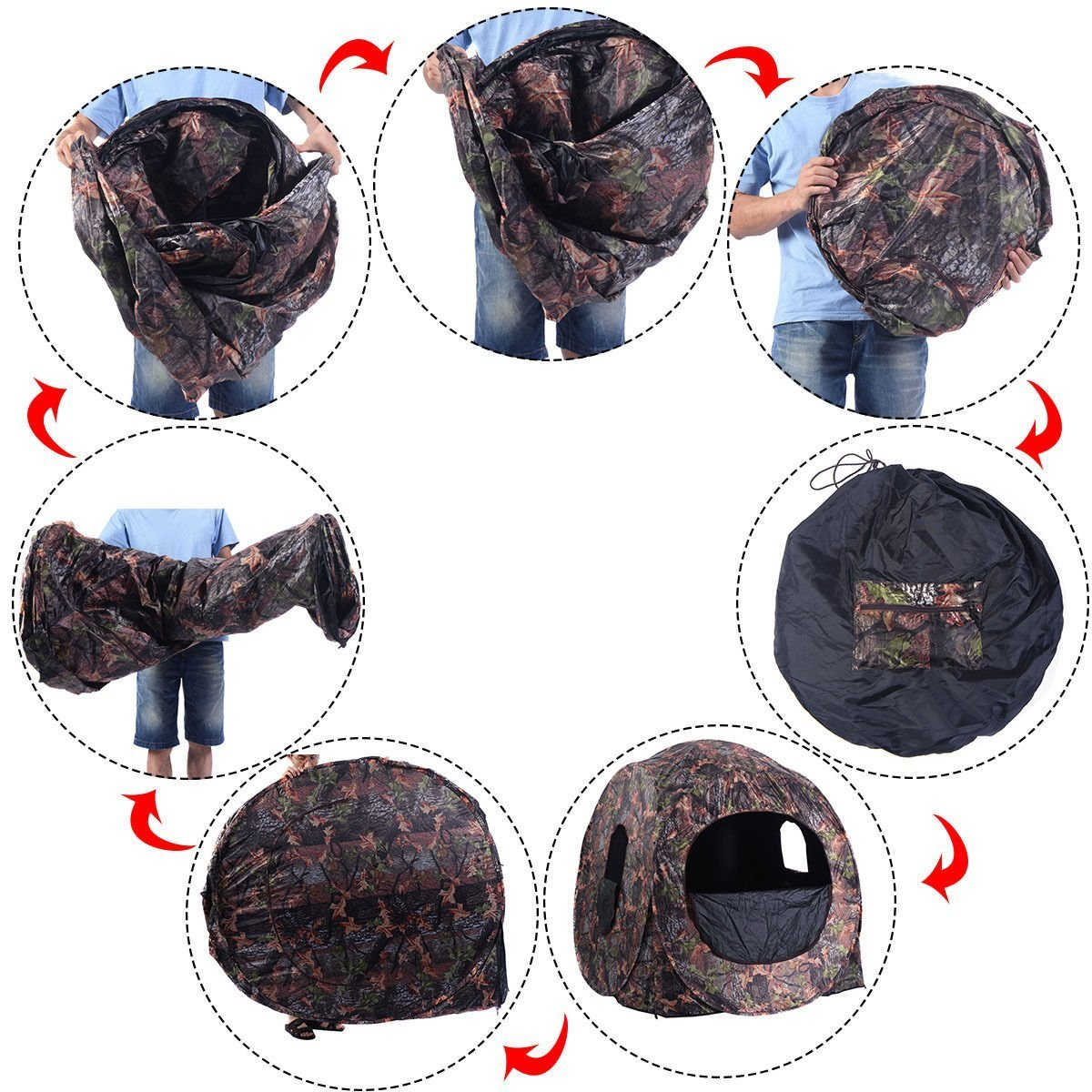 Tangkula Hunting Tent Portable Hunting Blind Pop Up Ground Blind 2-3 People Camo Waterproof with Backpack Hunting Enclosure by Tangkula (Image #6)