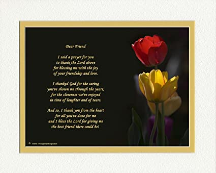 Amazon gift for friend with thank you prayer for friend poem gift for friend with quotthank you prayer for friendquot poem tulips photo thecheapjerseys Gallery