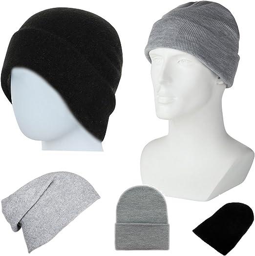 Plain gorro de lana para hombre gorro de lana para mujeres negro o ...