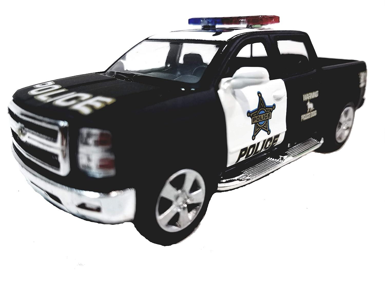 Kinsmart 2014 Silverado K 9 Black White Special Police Unit Pickup SUV 1 46 Scale Diecast Truck