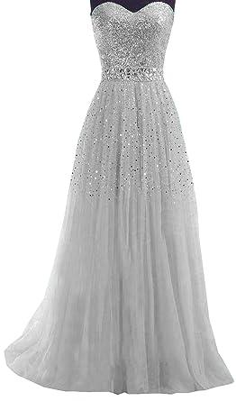 e673c37eae7 Damen Sexy Elegant Bandeau Pailletten Tüll Abendkleider Lang Kleider  Festkleid Ballkleid Cocktailkleid Maxi Kleid Partykleid