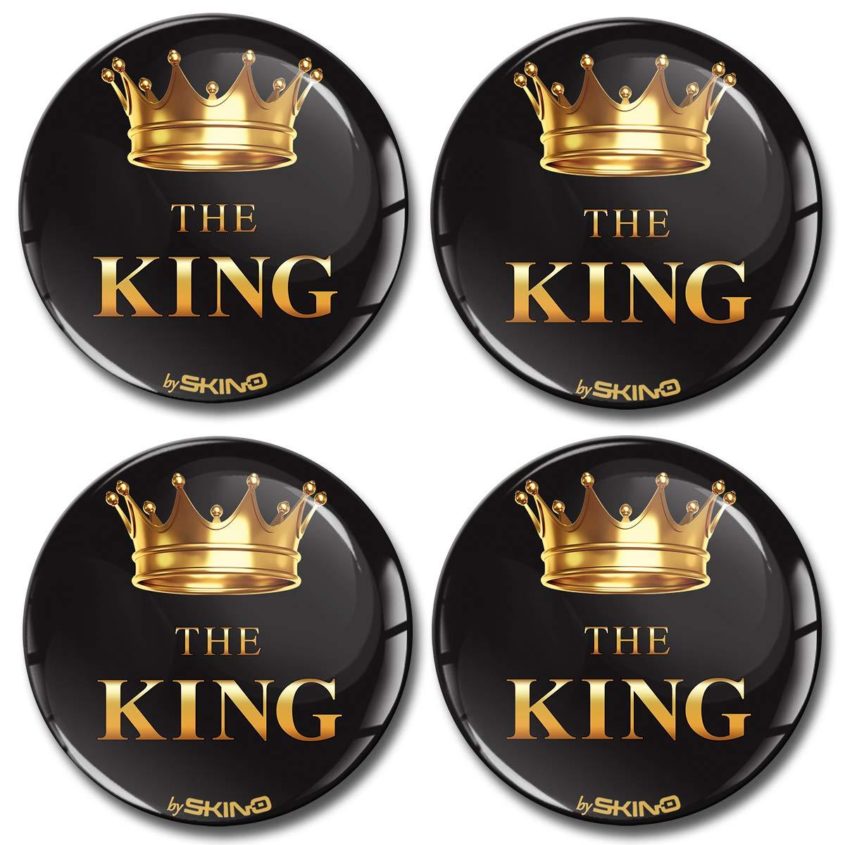 Skino 4 x 65 mm Adesivi 3D in Silicone The King per coprimozzo copricerchi A 4865 copricerchi coprimozzo