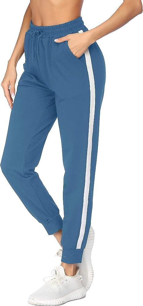 Damen Jogging Sweat Hose Jogpants Streifen Freizeit Kordelzug Weiß-Schwarz 38-42