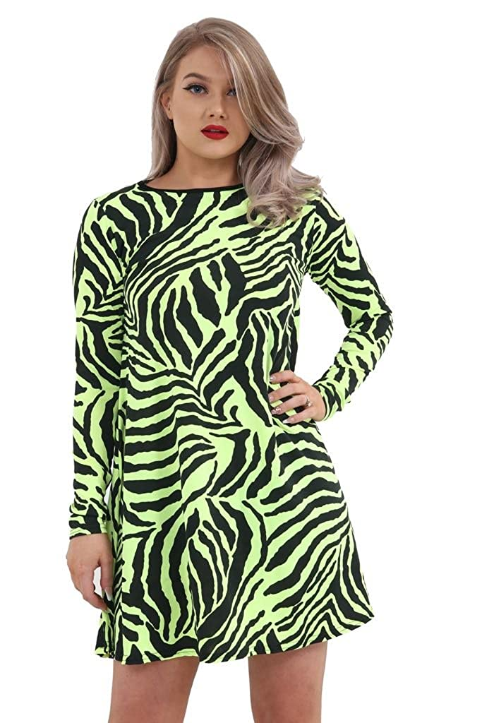 f1c10d560d0 GirlzWalk Women s Ladies Long Sleeve Zebra Print Swing Dress Skater Stretch  Mini Dress Top Plus Size at Amazon Women s Clothing store