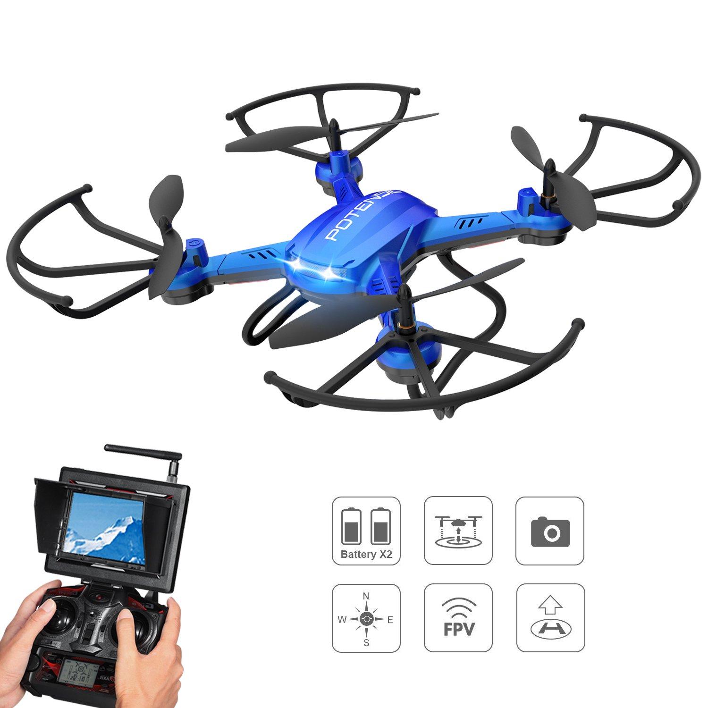 Potensic Drone Con Fotocamera HD,Drone RC Wifi FPV Quadricottero Con Funzione Di 3D Flips, Fotocamera HD 2MP , FPV LCD Monitore A Schermo Da 5.8Ghz - Blu