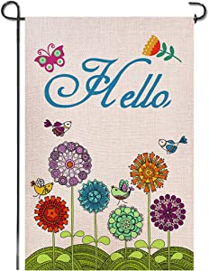 Shmbada Welcome Hello Spring Burlap Garden Flag, Double Sided Premium Material, Seasonal Summer Home Outdoor Flowers Birds Decorative Flags for Yard Lawn Patio Farmhouse, 12.5 x 18.5 inch