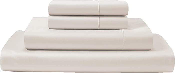 CHATEAU HOME COLLECTION 100% Egyptian Cotton Sheets Full Size, 800 Thread Count Ivory 4 Piece Sheet Set, Solid Sateen Weave, 16