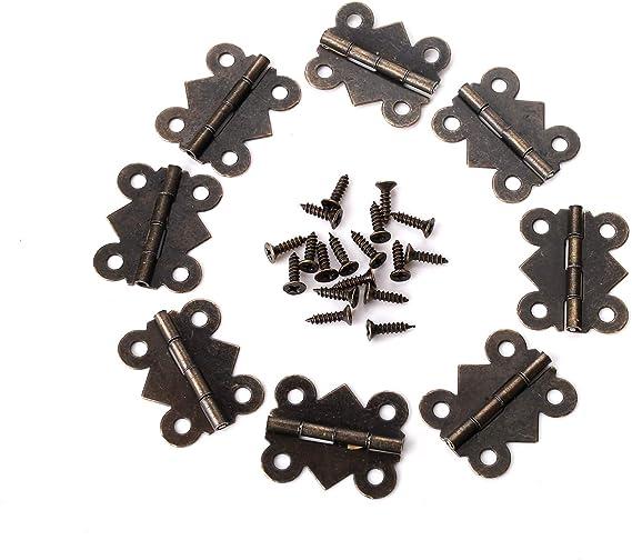 25 x 20 mm Juland 40 PCS Mariposa de lat/ón antiguo Mini Bisagras Bisagras de trasero retro con tornillos de repuesto para Caja de madera Cofre para joyas Gabinete de accesorios de bricolaje