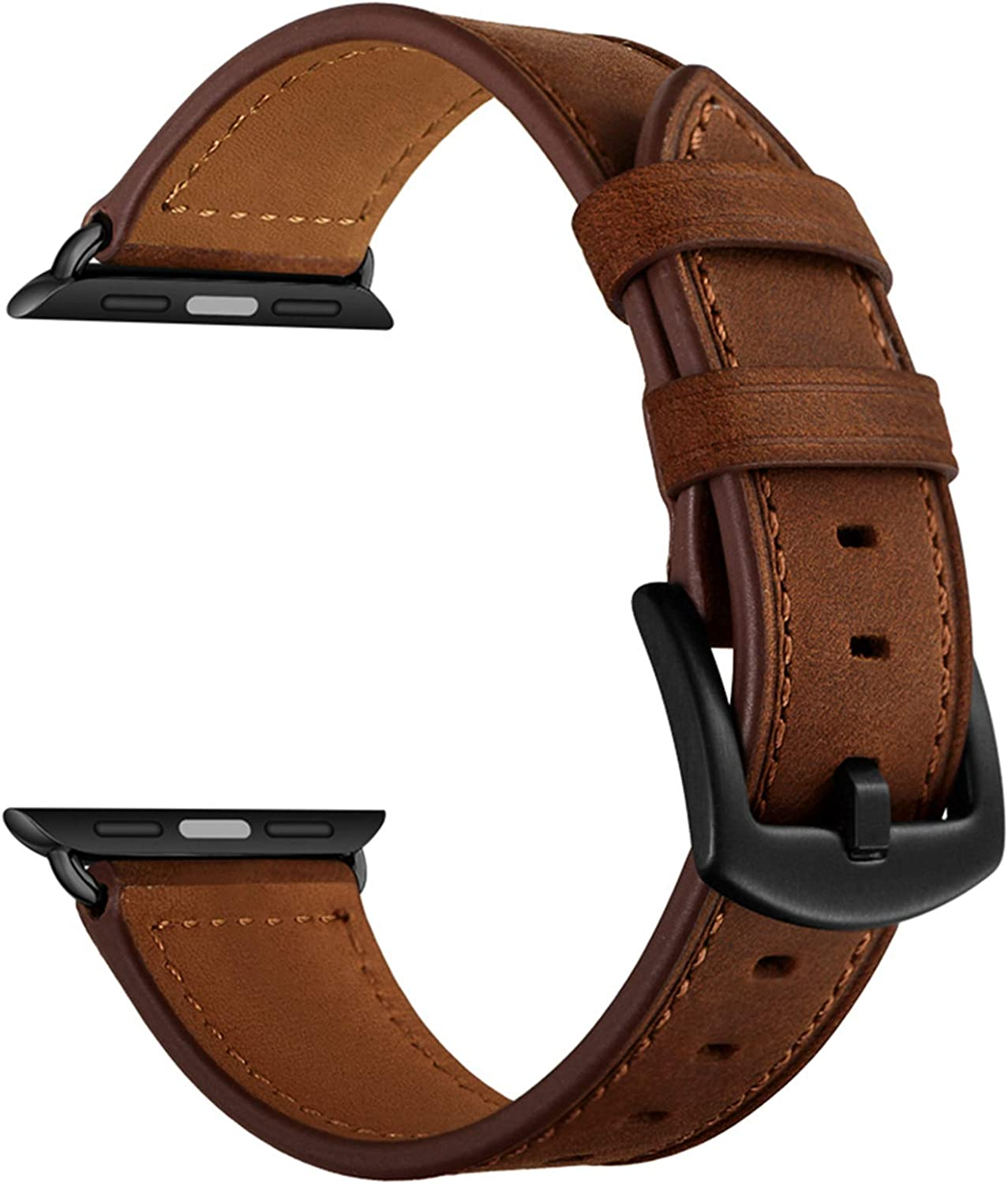 CINORS Leather Band Compatible with Apple Watch Vintage Classical Bands Dark Brown Replacement Strap for iWatch Series 6 SE 5 4 3 2 1 Nike Space Black Grey 42mm 44mm Men Women, Brown