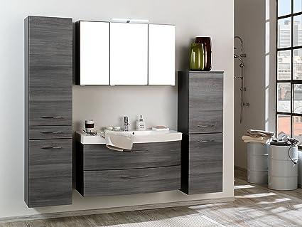 Mobelando Badkamer Complete Set Kast Badkamer Wastafel Meubels Set Spiegel Grafiet I Amazon Nl