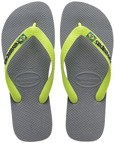 Havaianas Unisex-Erwachsene Zehentrenner, Mehrfarbig (Steel Grey/Neon Orange), 43/44 EU (41/42 Brazilian)