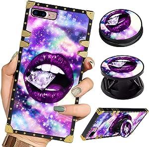 Bitobe Luxury Square Phone Case iPhone 8 Plus iPhone 7 Plus Retro Elegant Soft TPU Design Cover for iPhone 7 Plus iPhone 8 Plus (Purple Galaxy Diamond Lips)