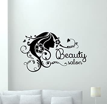 Amazon.com: Beauty Salon Wall Decal Girl Hairstyle Woman Fashion ...