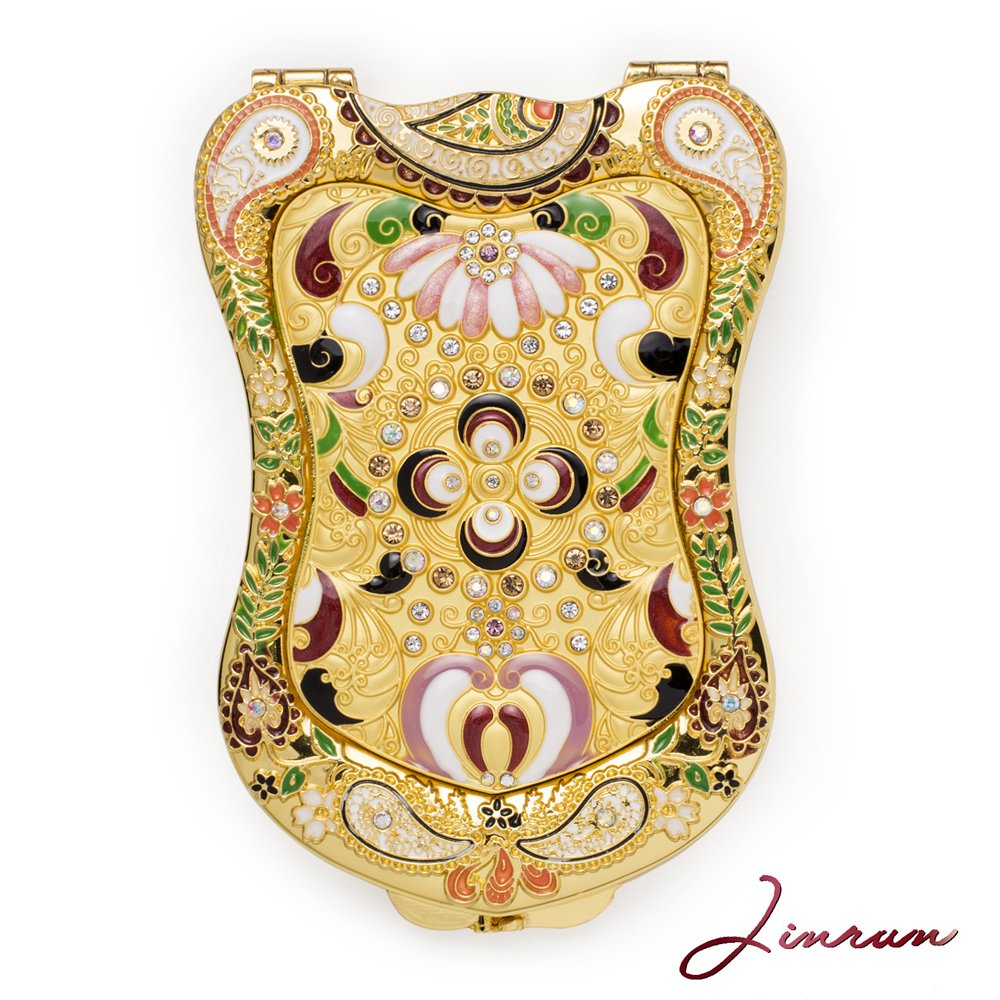 Amazing Antique-Like Gold Compact Mirror By Jinvun: Durable Travel Purse Makeup Mirror With Luxury Vintage Design, Shield Shape, Magnification & Clear Reflection-Unique Jewellery Gift