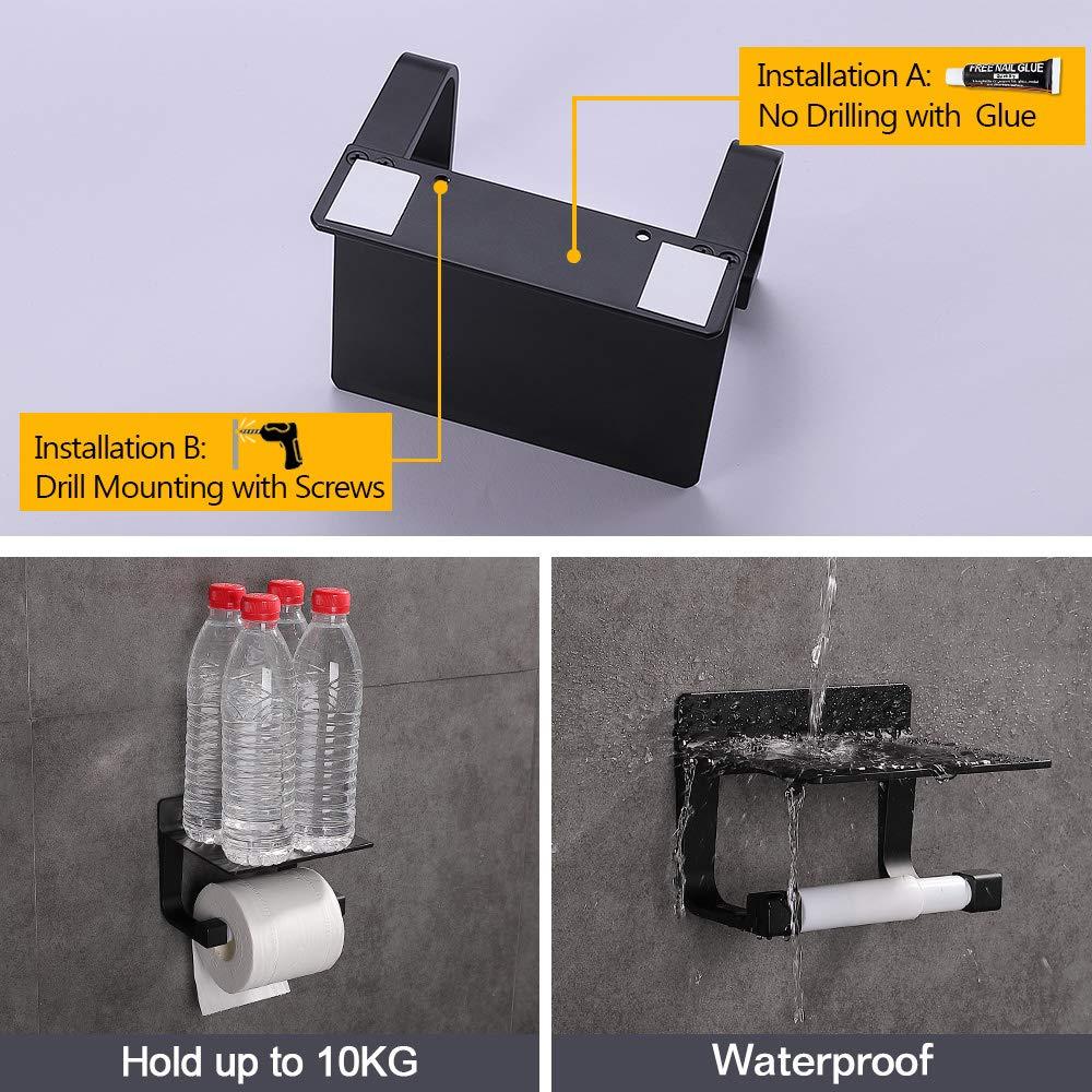 Acabado Mate Negro Hoomtaook Portarrollos Ba/ño Adhesivo Portarrollo para Papel Higi/énico Autoadhesivo Aluminio