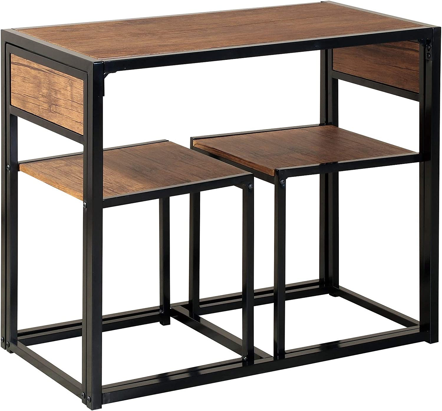 3-Piece Table and Chair Set - Small Space Compact Dining Bar Table Set for Kitchen Living Room Dinette Coffee Dining Industrial Design Breakfast Table (Brown)