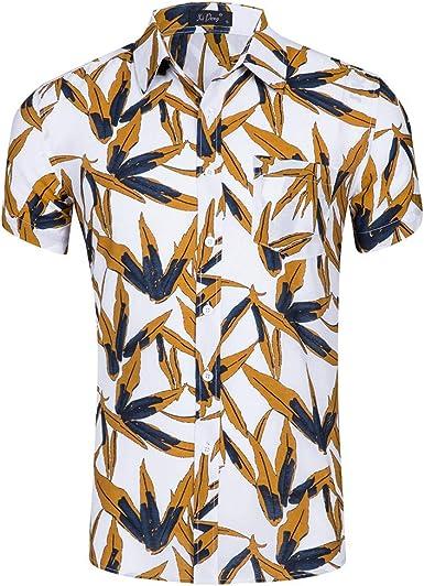 KAYLEY Camisa Hawaiana para Hombre Hojas con Estampado de ...
