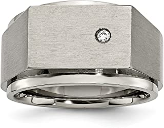 Diamond2deal Titanio lucido e spazzolato anello sigillo da uomo con zircone taglia 12 TB427-12