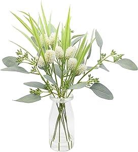 Artificial Flowers for Decoration, Fake Plants Eucalyptus Leaves Ls Wild Flower with Glass Vase, Floral Arrangements Flower Bouquets Décor for Table Centerpieces Home Office Decor