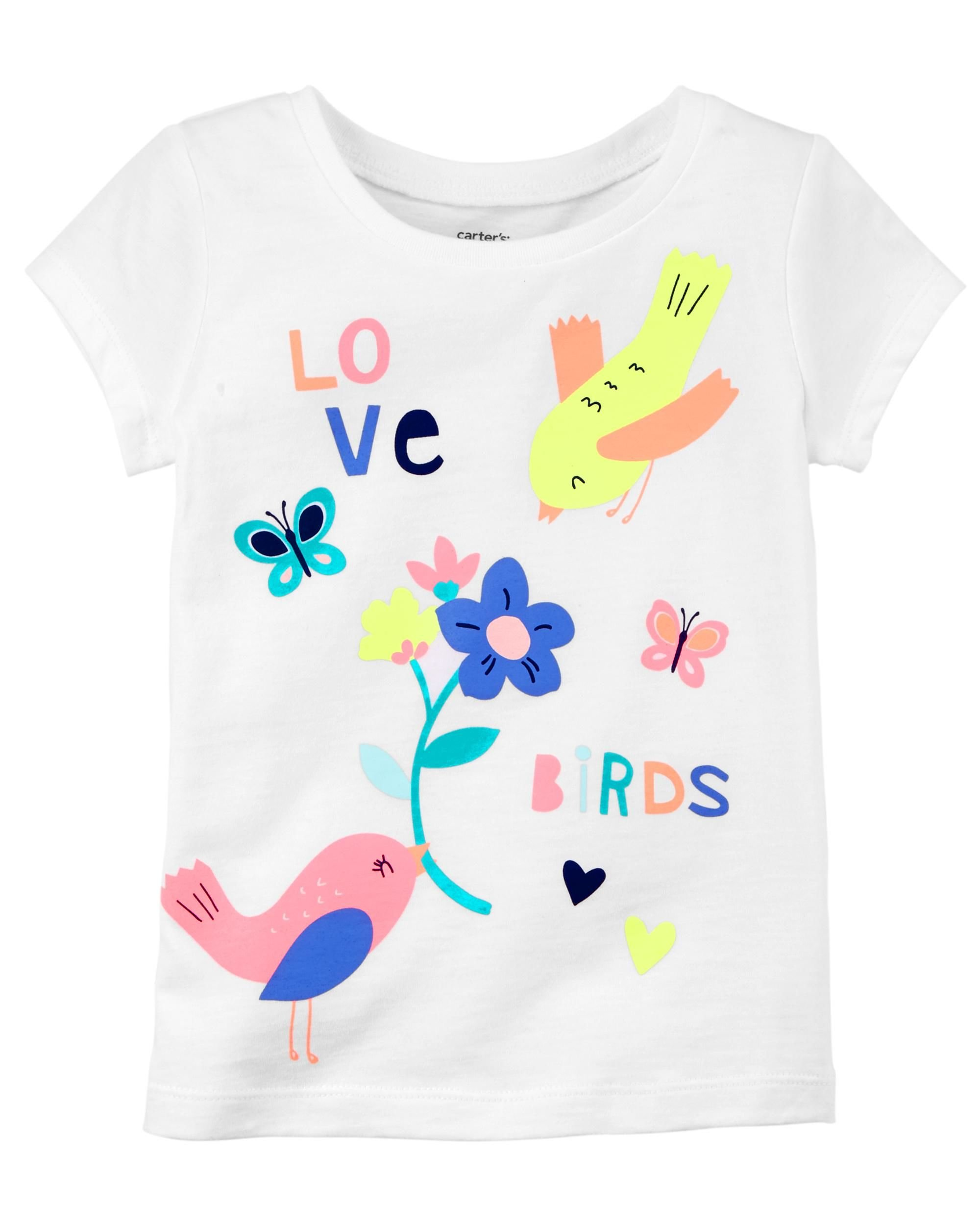 Carter's Girls' 2t-5t Short Sleeve Love Birds Tee ,White,5T