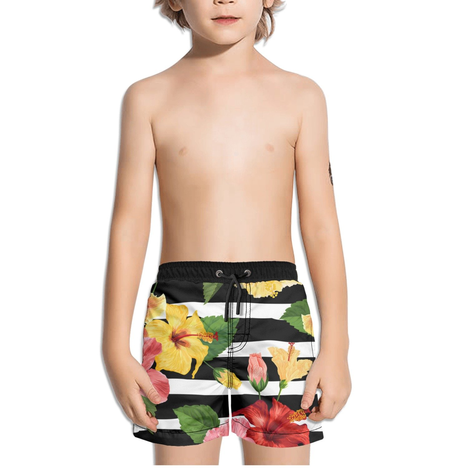 Ouxioaz Boys' Swim Trunk Tropical Hibiscus Flower Beach Board Shorts