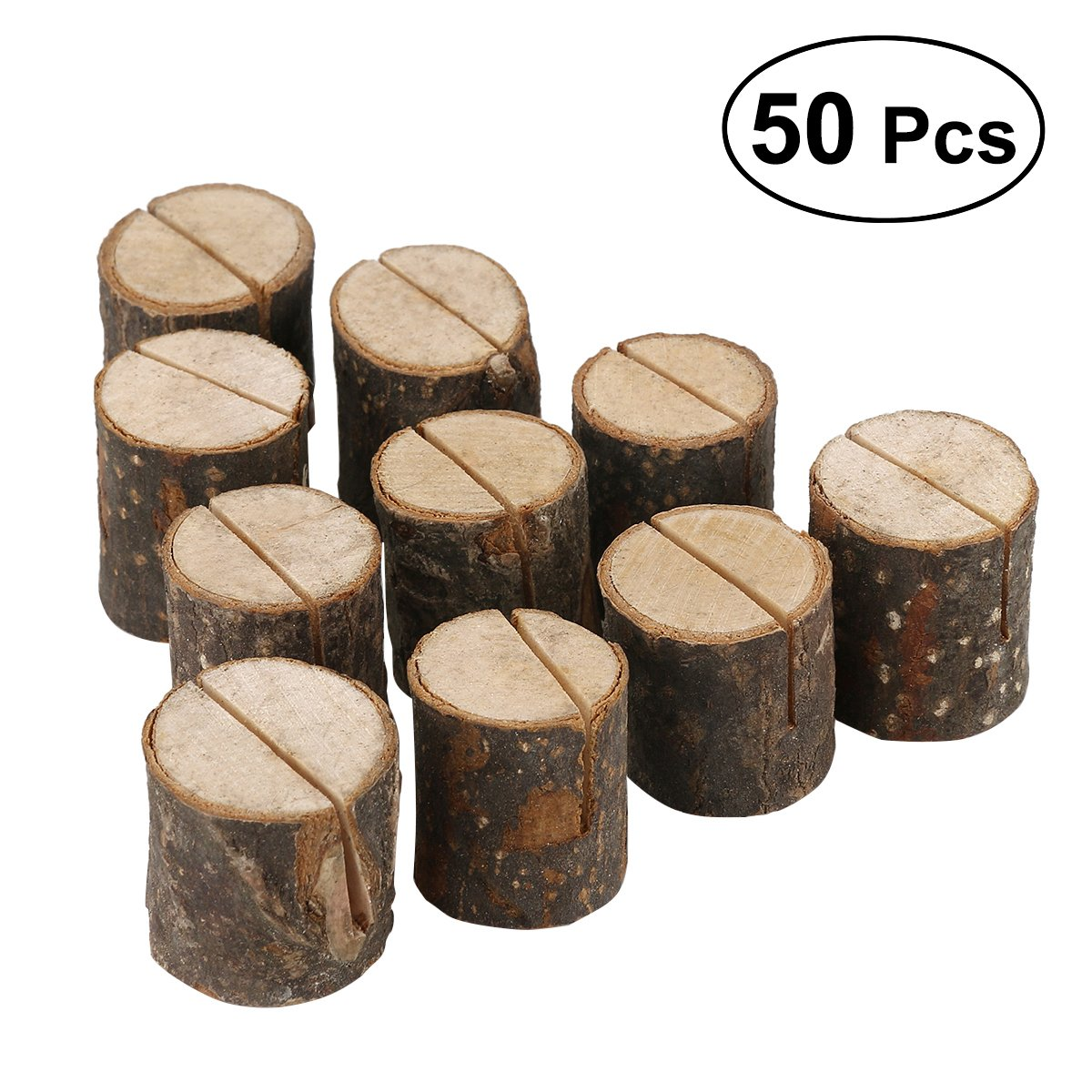 Vosarea 50Pcs Wood Table Numbers Holder Rustic Wood Place Card Holder Wedding Party Table Name Card Holder Memo Note Card Holder