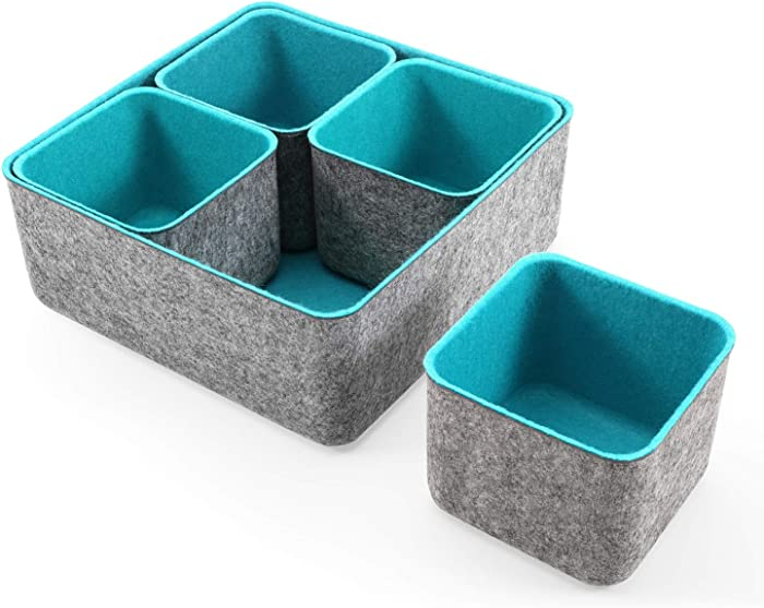 Welaxy Storage bins Set Office Drawer Organizers for School Home Kitchen Closet Cabinet Desk organize boxes Gifts idea Pack of 5 (Turquoise)