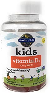 Garden of Life Kids Organic Vitamin D3 Gummies, Orange Flavor - 800 IU (100% DV) for Immunity & Strong Bones, Sugar Free Once Daily D3 Gummy Vitamins for Kids, 60 Vegetarian Gummies (60-Day Supply)