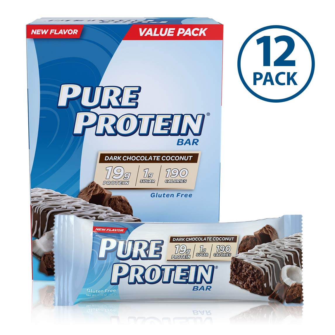 Pure Protein Bars, High Protein, Nutritious Snacks to Support Energy, Low Sugar, Gluten Free, Dark Chocolate Coconut, 1.76oz, 12 Pack by Pure Protein