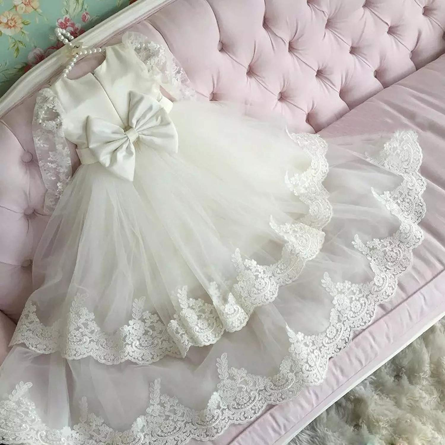 White Long Christening Gown Dresses with Bonnet Tulle Lace Edge 0-24 Months