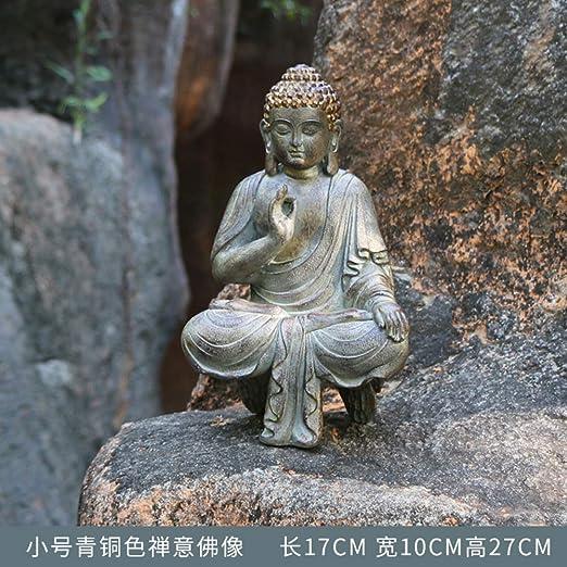 FF&XX Jardín,Ornamentos Zen Manualidades,Al Aire Libre Mini Estatua De Buda,Regalos Religiosos,Decoración Al Aire Libre para Jardín Patio Cubierta Porche D 17x10x27cm: Amazon.es: Jardín