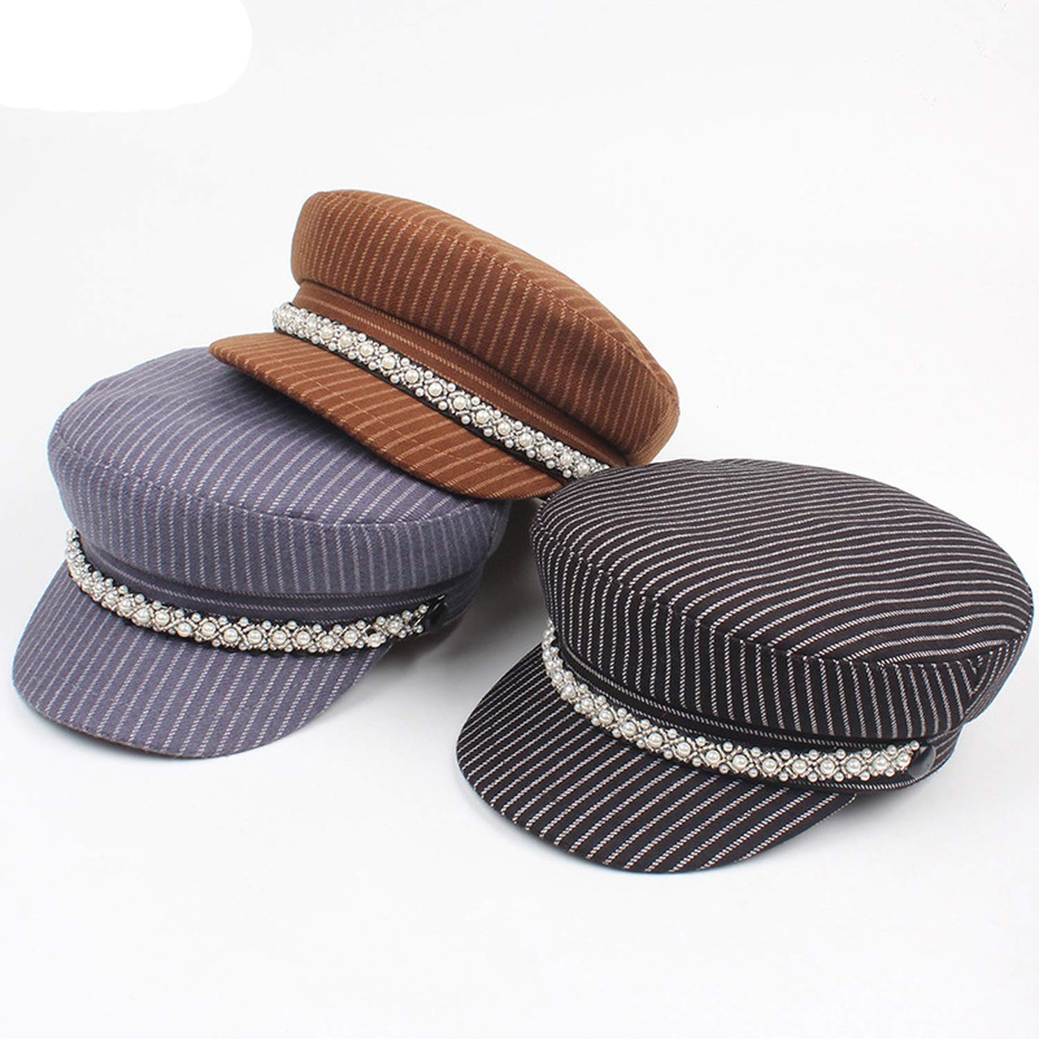 Pearl Newsboy caps Women Wool Striped Newsboy caps Flat top Visor Retro Octagonal hat