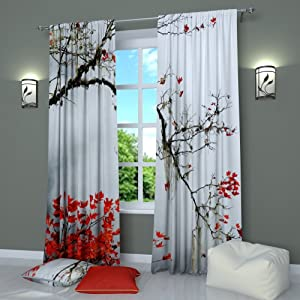 Black and White Curtains Window Panels Print Asian Japanese Style Tree Branch With Red Leaves- Set of 2 - Rod Pocket W84 x L84 inches Drapes for Living Room Bedroom Kitchen