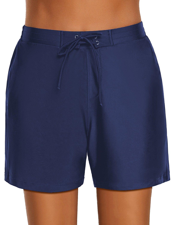 Lookbook Store Women's Navy Blue Lace-up Tie Swim Board Shorts Summer Stretch Beach Swimsuit Bottom Size XXL