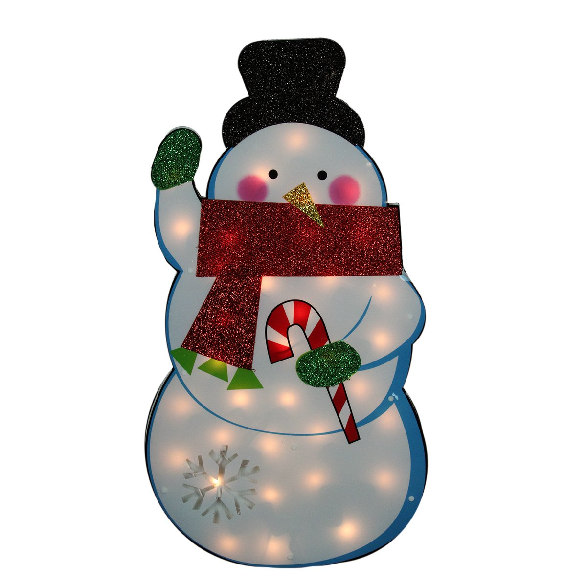 Northlight  Standing Tinsel Snowman Lighted Christmas Yard Art Decoration with Clear Lights, 30'' by Northlight