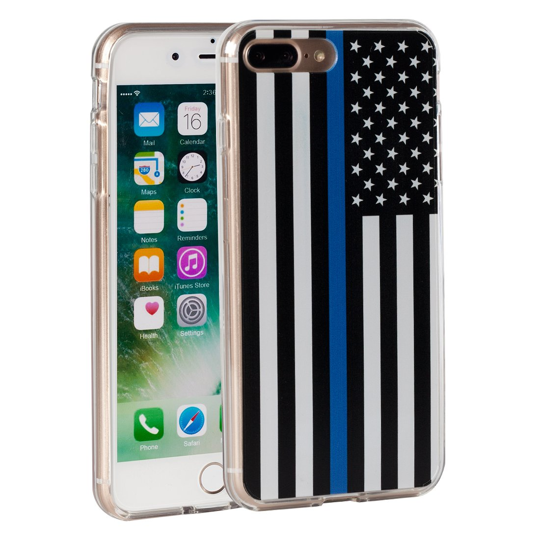 the latest 53f98 8fe00 iPhone 7 Plus Case,iPhone 8 Plus Case,AIRWEE Thin Blue Line US Flag Pattern  Slim Clear Acrylic PC Hard Back Cover with Soft Rubber TPU Bumper Hybrid ...